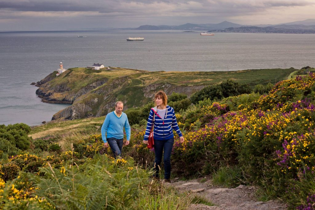 couple going on the Howth cliff walk
