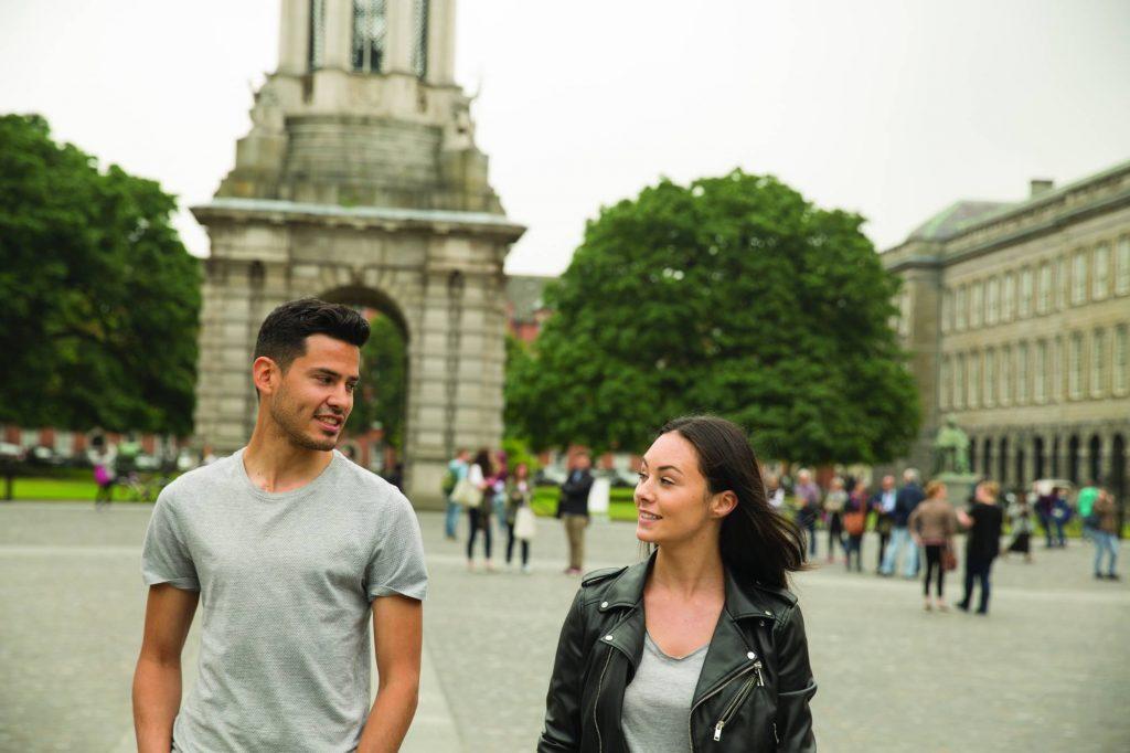 couple exploring Trinity College Dublin