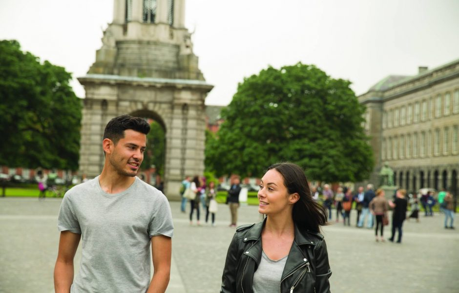 couple exploring Trinity College Dublin